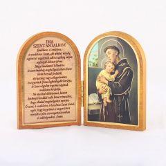 Nyitható faplakett Szent Antal szentképpel és imádsággal