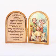 Nyitható faplakett Szent Család szentképpel és imádsággal