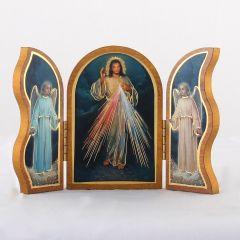 Szárnyas, aranyozott szentképes faplakett