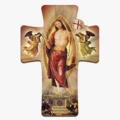 Kereszt formájú faplakett, Feltámadt Krisztus