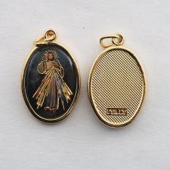 Aranyozott egyoldalas medál Irgalmas Jézus képpel