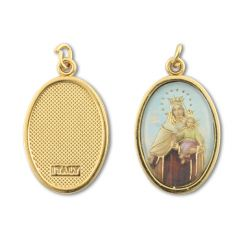 Aranyozott egyoldalas medál Kármelhegyi Szűzanya képpel