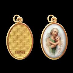Aranyozott egyoldalas medál (Szent József)