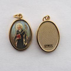 Aranyozott egyoldalas medál Szent Benedek képpel