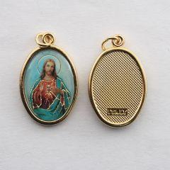 Aranyozott egyoldalas medál Jézus szíve képpel