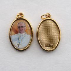 Aranyozott egyoldalas medál Ferenc pápa képpel