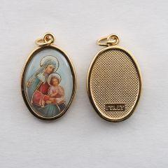 Aranyozott egyoldalas medál Szent Anna képpel