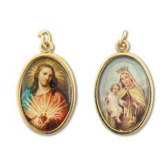Aranyozott kétoldalas medál Jézus szíve és Kármelhegyi Szűzanya képpel