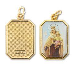 Aranyozott egyoldalas nyolcszög medál Kármelhegyi Szűzanya képpel