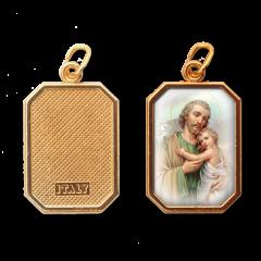 Aranyozott egyoldalas nyolcszög medál (Szent József)