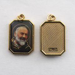 Aranyozott egyoldalas nyolcszög medál Szent Pió atya képpel