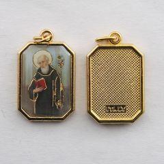 Aranyozott egyoldalas nyolcszög medál Szent Benedek képpel