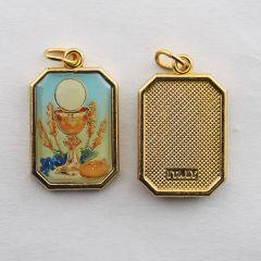 Aranyozott egyoldalas nyolcszög medál Elsőáldozás képpel