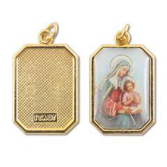 Aranyozott egyoldalas nyolcszög medál Szent Anna képpel