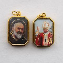 Aranyozott kétoldalas nyolcszög medál Szent Pió atya és II. János Pál pápa képpel