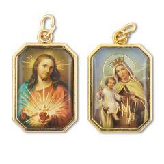 Aranyozott kétoldalas nyolcszög medál Jézus szíve és Kármelhegyi Szűzanya képpel