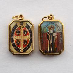Aranyozott kétoldalas nyolcszög medál Szent Benedek és Szent Benedek címer képpel