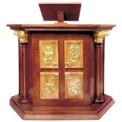 Díszes fa ambó a 4 Evangelista szimbólumaival