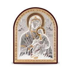 Faplakett ezüst betéttel - bicolor (Mária kis Jézussal)