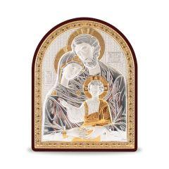 Faplakett ezüst betéttel - bicolor (Szent Család)