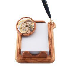 Olivafa toll- és jegyzettartó ezüst betéttel