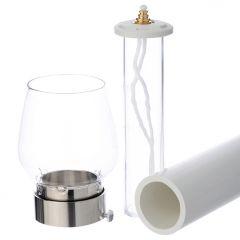 Körmeneti olajgyertya hőálló lángvédő üvegbúrával