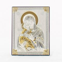 Állitható és akasztható ezüst plakett Mária kis Jézussal