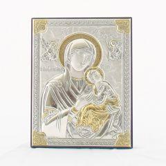 Állitható és akasztható ezüst plakett Passionista Istenszülő