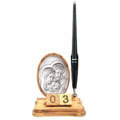 Asztali tolltartó dátumkockával, ezüst betéttel