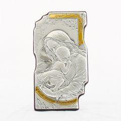 Állítható és akasztható ezüst plakett (Mária kis Jézussal)