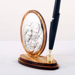 Olivafa tolltartó ezüst betéttel