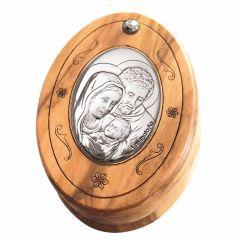 Olivafa rózsafüzértartó ezüstözött betéttel (Szent Család)