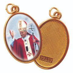Aranyozott egyoldalas medál II. János Pál pápa képpel
