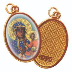 Aranyozott egyoldalas medál Czestochowa-i Madonna képpel