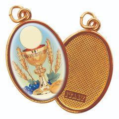 Aranyozott egyoldalas medál Elsőáldozás képpel