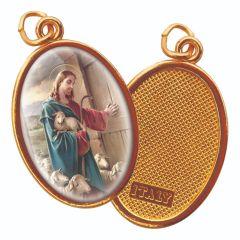 Aranyozott egyoldalas medál Jézus, a jó pászor képpel