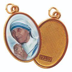 Aranyozott egyoldalas medál Kalkuttai Szent Teréz anya képpel