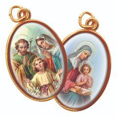 Aranyozott kétoldalas medál Szent Család és Szent Anna képpel