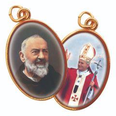 Aranyozott kétoldalas medál Szent Pió atya és II. János Pál pápa képpel