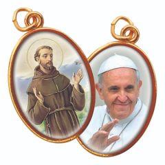 Aranyozott kétoldalas medál Szent Ferenc és Ferenc Pápa  képpel