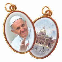 Aranyozott kétoldalas medál Ferenc Pápa és Szent Péter Bazilika képpel
