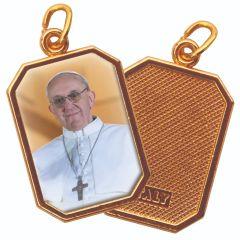 Aranyozott egyoldalas nyolcszög medál Ferenc Pápa képpel