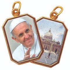 Aranyozott kétoldalas nyolcszög medál Ferenc Pápa és Szent Péter Bazilika képpel