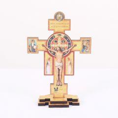 Kereszt formájú Szent Benedek talpas faplakett