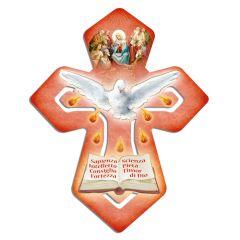 Kereszt formájú faplakett aranyozott szentképekkel