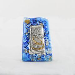 Murano-i üveg plakett ezüst betéttel