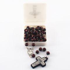 Prémium rózsafüzér fa szemekkel (Ferenc pápa)