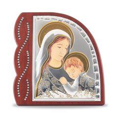 Faplakett ezüst betéttel és strassz díszítéssel (Mária kis Jézussal)