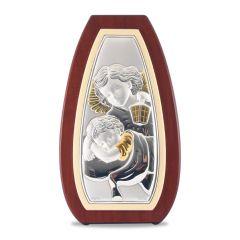 Faplakett ezüst betéttel (őrző angyal)