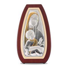 Faplakett ezüst betéttel (Mária kis Jézussal)
